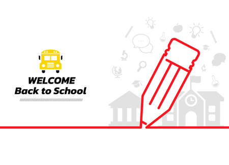 Minimal line stationery background. Back to School continuous line drawing, vector illustration. Vector illustration. Back to School Banner.