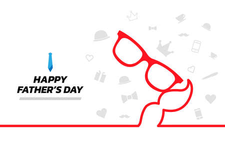 Minimal line icon elements background. Fathers Day continuous line drawing, vector illustration. Vector illustration. Happy Fathers Day Banner.