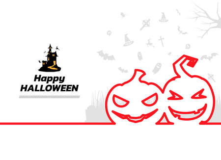 Minimal line halloween elements background. Happy Halloween continuous line drawing, vector illustration. Vector illustration. Happy Halloween Banner.