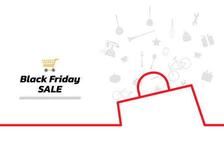 Minimal line icon elements background. Black Friday continuous line drawing, vector illustration. Vector illustration. Black Friday Banner. 向量圖像