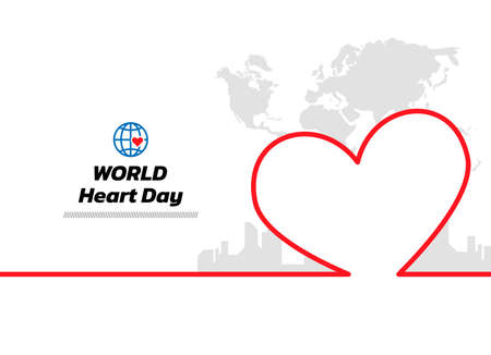 Minimal line world map and city background. World Heart Day continuous line drawing, vector illustration. Vector illustration. World Heart Day Banner.