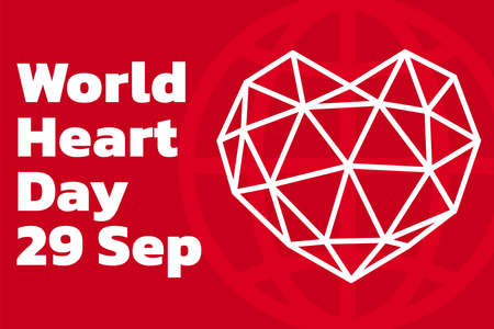 World heart day with red heart and world sign vector design. Creative poster or banner of world heart day. Vector illustration.