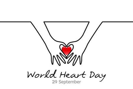 World Heart Day minimalist vector banner, poster, background with hands and hearts. One continuous line drawing with hand. Vector illustration. Minimal line World Heart Day. World Heart Day Banner.