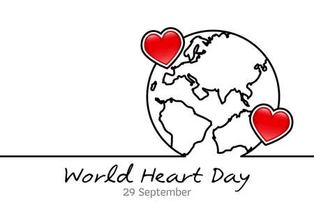 World Heart Day minimalist vector banner, poster, background with World map and hearts. One continuous line drawing with World map. Vector illustration. Minimal line World Heart Day. World Heart Day Banner. 向量圖像