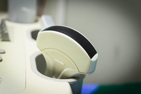 Close up ultrasound machine detail, ultrasound machine