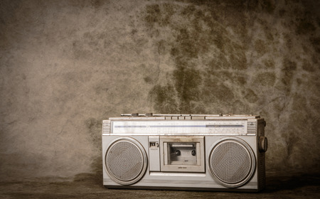 stereo cut: the still life retro radio on grunge background