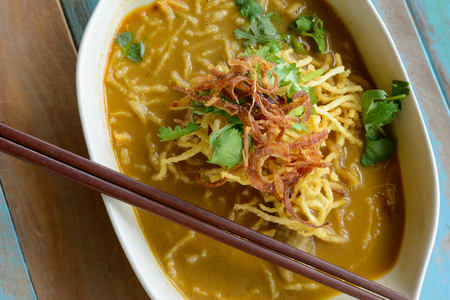 thai noodle: Khao Soi (Northern Thai Noodle Curry Soup) Stock Photo