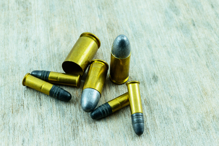 9mm ammo: Bullets close up Stock Photo