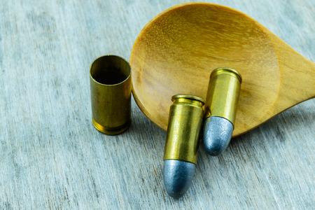 m16 ammo: Bullets close up Stock Photo