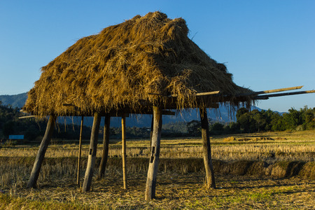 haystack in countryside at northern of Thailand  photo