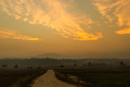 spiritless: Rural road in the evening,Thailand