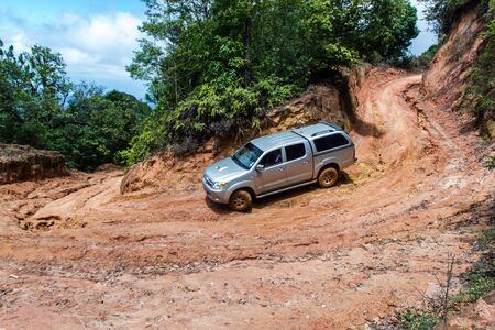 clay stone road in jungle: Curved gravel road in rural Thailand