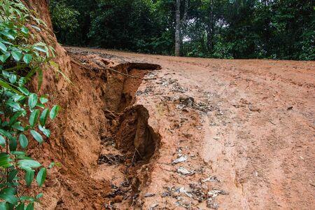 landslip: road landslide damage  Stock Photo