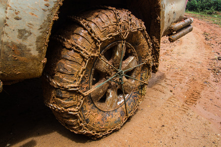 four wheel drive: Tire car chains of close up Stock Photo