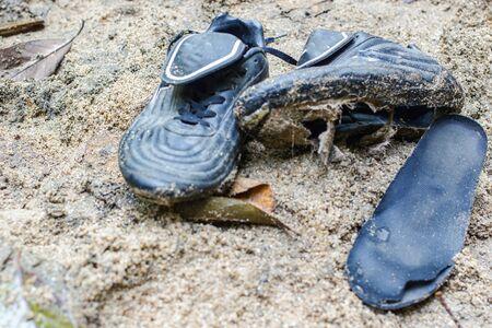worn: Shoes worn on sand