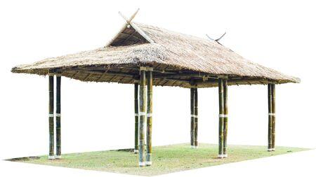 thailand bamboo: Thailand bamboo pavilion isolate on white .