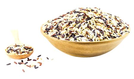 clearness: Food background with of five rice variety . rice mixture. brown rice black rice white rice yellow rice clearness rice.