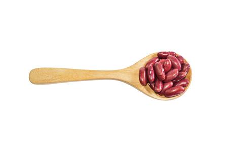 adzuki bean: Red adzuki bean on wooden spoon isolate on background. Product of Thailand, Asia.