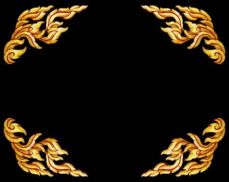 conner: old antique gold frame Wooden doors Thai style pattern isolated on black background