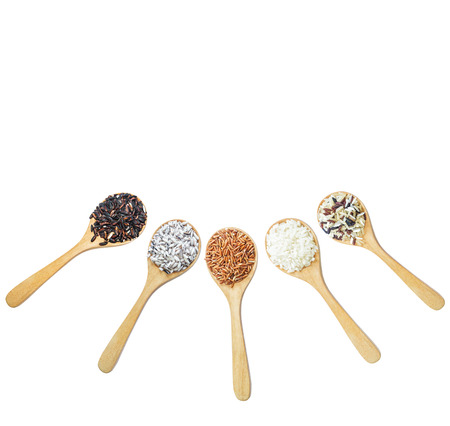 various: Food background with of rice variety . rice mixture. brown rice, black rice, white rice.