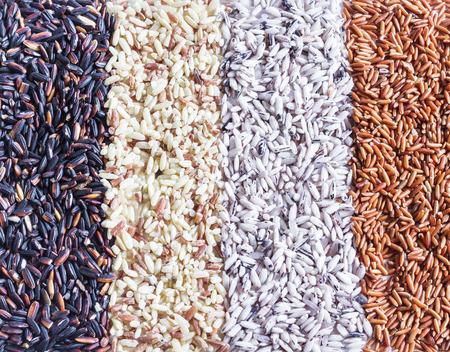 Alimentación de fondo con gran variedad de arroz. mezcla de arroz. arroz integral, arroz negro, arroz blanco.