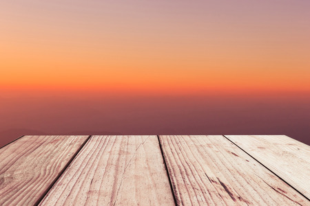 aspiring: Wooden floor background aspiring to soft color sky Stock Photo