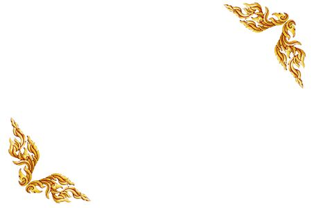 conner: old antique gold frame Wooden doors Thai style pattern isolated on white background