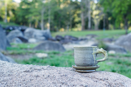 nature beauty: Cup with tea with sunlight. Beauty nature background.