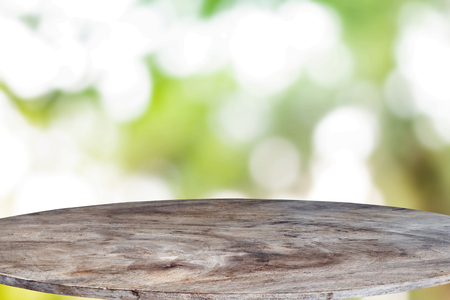 Wood floor texture and bokeh background Stock Photo