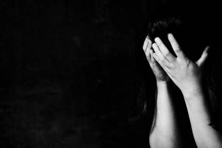 Fear, loneliness, depression, abuse, addiction  concept about violence against women Foto de archivo