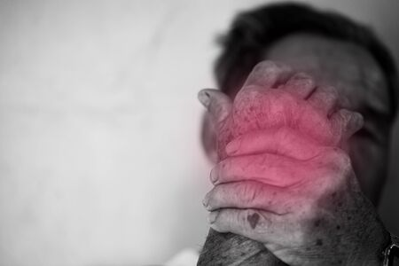 Old man suffering from pain and rheumatism, Concept of healing care.