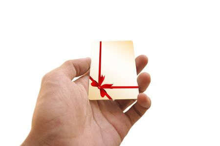 Man s hand holding gift card Stock Photo - 15558999