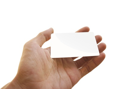 Man holding a blank business card with white background Stock Photo - 15559000