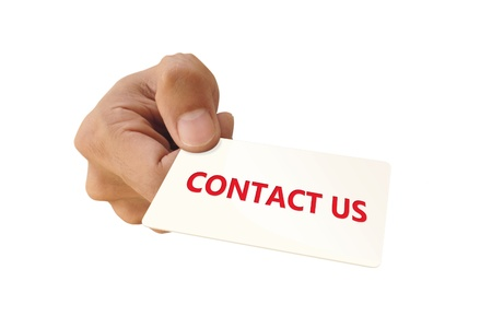 Hand with Contact Us card, isolated on white background photo