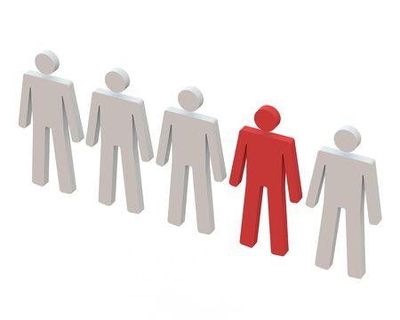 uomo rosso: Rosso uomo in piedi in una riga con sfondo bianco Archivio Fotografico