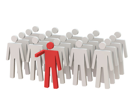 Leader standing in front of the crowd with white background photo