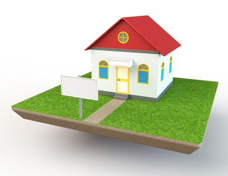 House model on grass island photo
