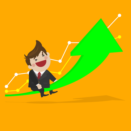 sales manager: Happy businessman with a growing up investment. simple cute flat vector cartoon design.