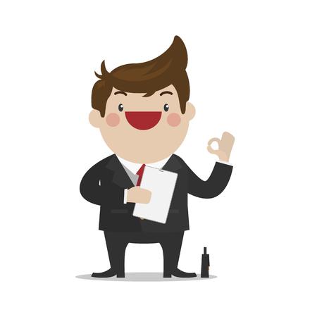 all ok: Businessman with all correct hand sign [OK]. simple cute flat vector cartoon design.