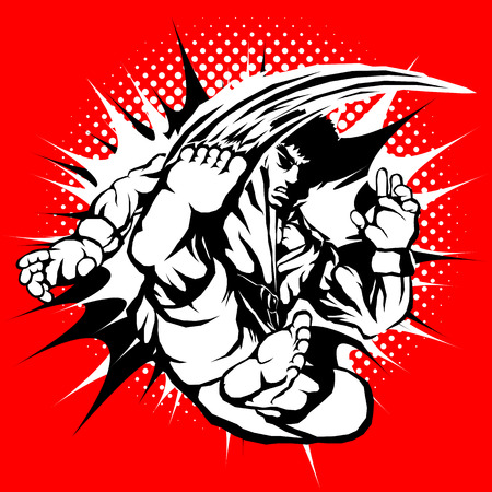 creative popular martial arts, karate, tekwando etc. cruel male fighter character shown super high jump kick movement with fire effects black and white color in red hot gradient background for martial arts logo, t-shirt , tattoo or every design.