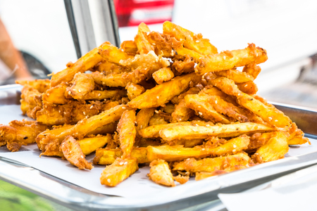 Deep-fried sliced potato, Asian style french fries.