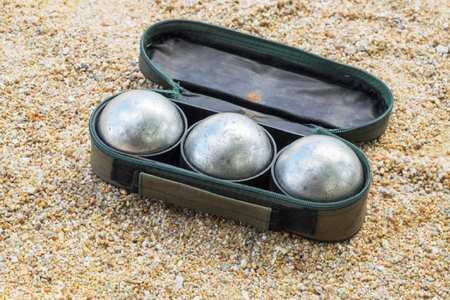 petanque ball set in the bag on the field with nobody. Stock Photo