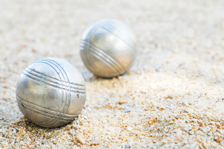 petanque  balls on the field with nobody. Stock Photo