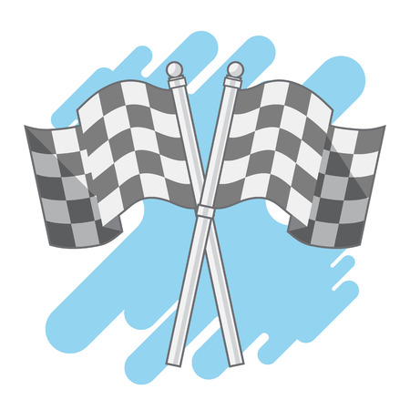 Double Checkered Flags isolated flat vector cute cartoon design. Illustration
