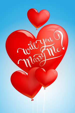 Will You Marry Me Calligraphy on Heart Balloon iSolated on Blue Background.