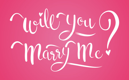 Will You Marry Me Calligraphy on isolated Pink Background.