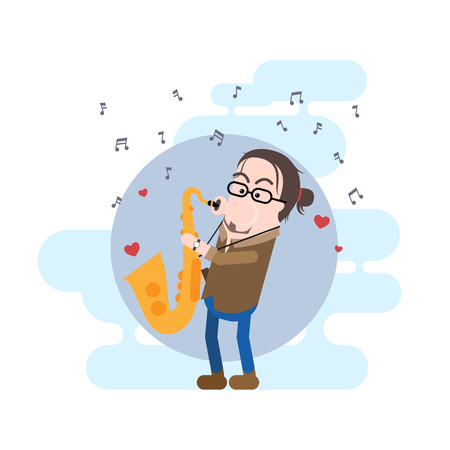 Male Saxophonist Simple Vector Character with His Tenor Saxophone. Stock Vector - 93133425