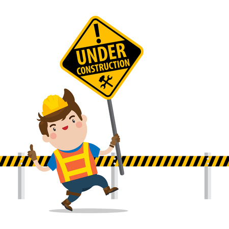 Cute Male Character Holding Under Construction Sign, Flat Vector Character.