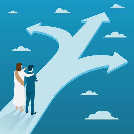 Jesus Christ Guiding Businessman to Making Decision on Three Different Ways, Flat Vector Business Concept. Illustration