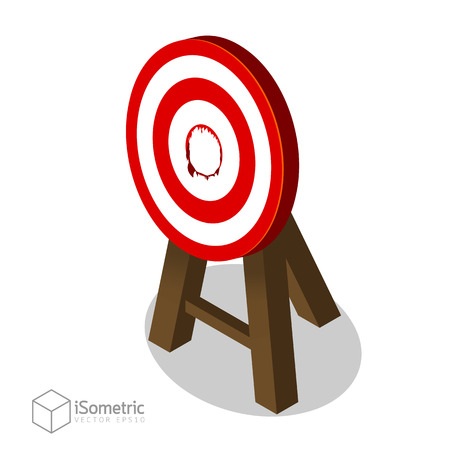 Breakthrough Target Goal, Business Concept of Best Idea with a Big Hit Target Flat Vector Isometric Style.